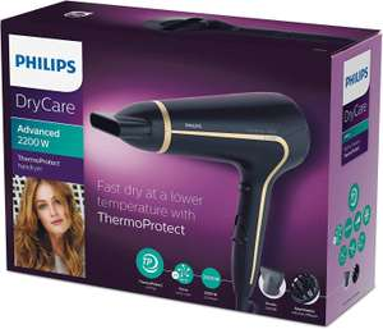 Philips DryCare Advanced Haartrockner mit ThermoProtect Technologie, 2200 W, DC-Motor & 2 Aufsätze für 14,99€ (Amazon Prime)