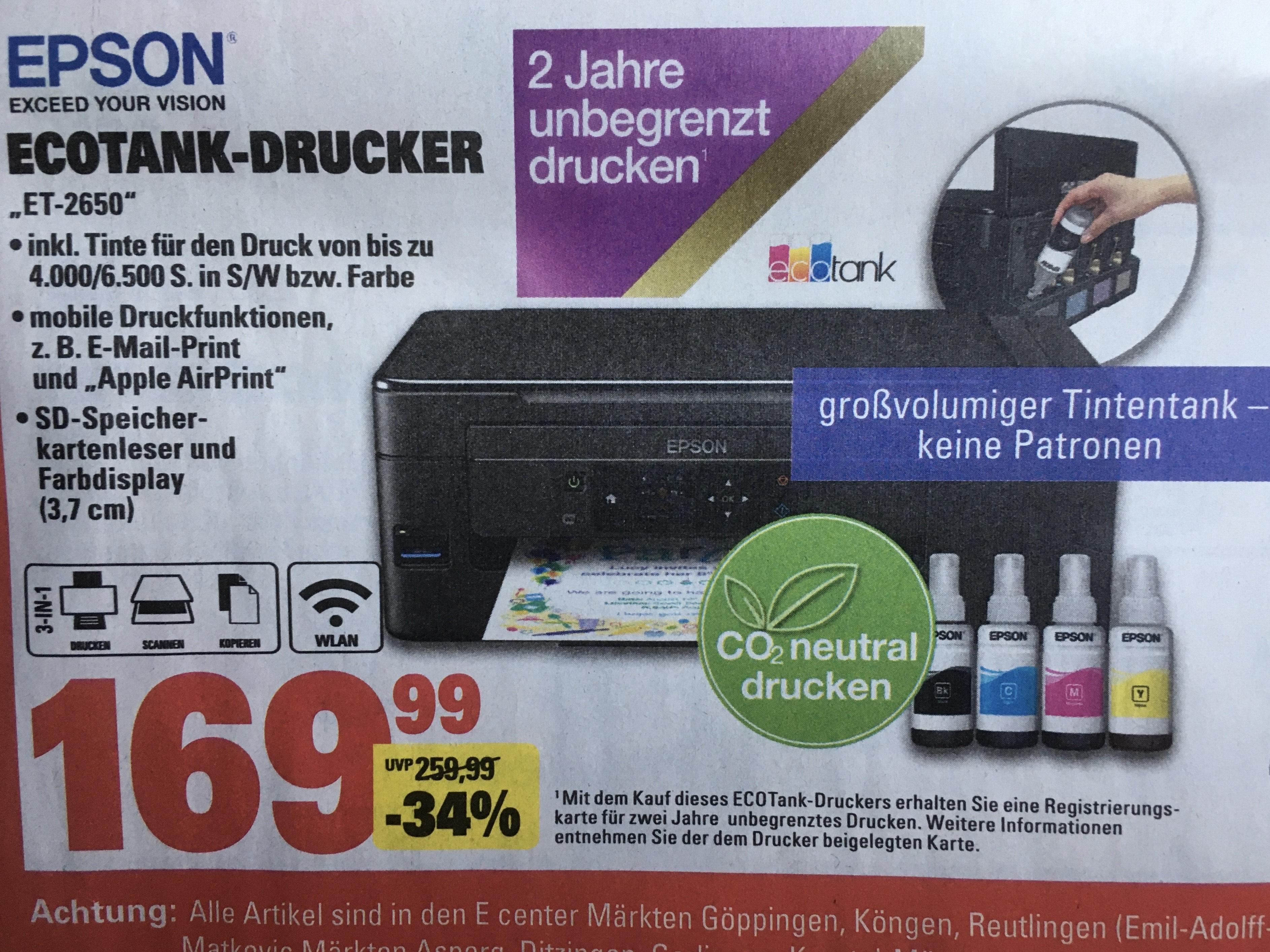 [Marktkauf] ab 18.05 Epson EcoTank ET-2650 nachfüllbares 3-in-1 Tintenstrahl Multifunktionsgerät DIN A4, WiFi, Display, USB 2.0)
