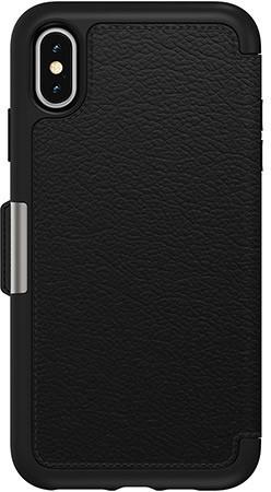 OtterBox Strada Etui schwarz für Apple iPhone Xs Max: sturzsichere Folio Schutzhülle aus echtem Leder (Prime)