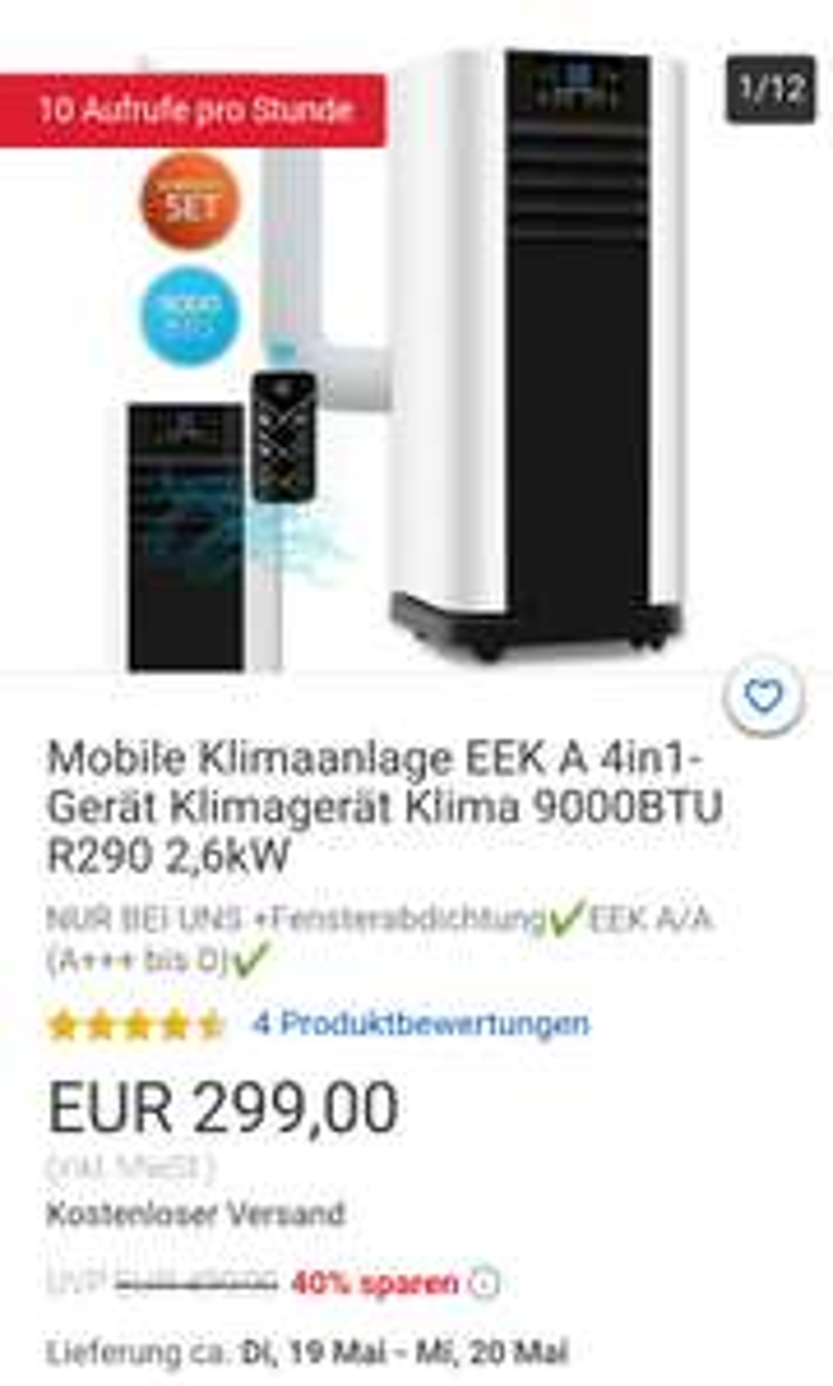 Mobile Klimaanlage EEK A 4in1-Gerät Klimagerät Klima 9000BTU R290 2,6kW