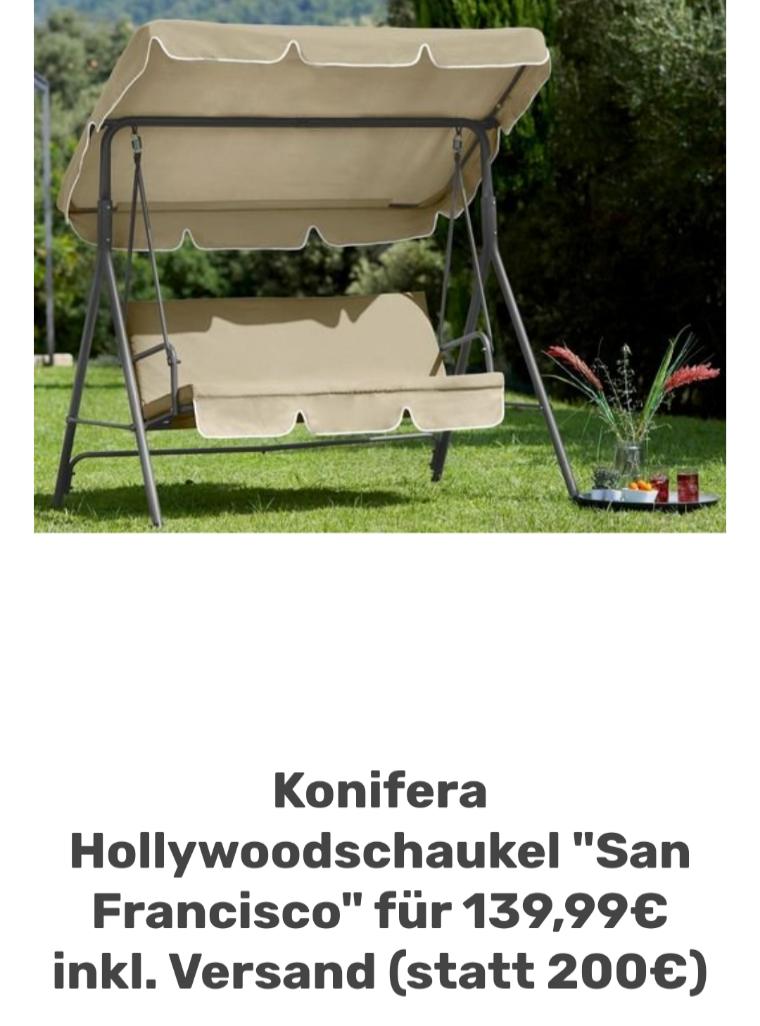 "Konifera Hollywoodschaukel ""San Francisco"" für 139,99€ inkl. Versand"