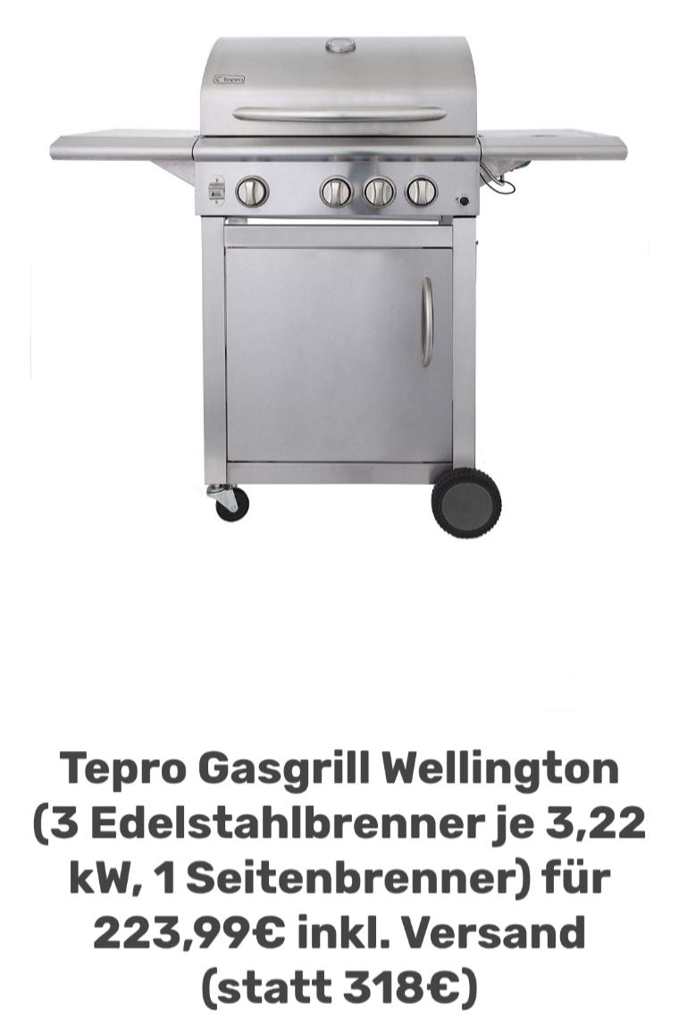 Tepro Gasgrill Wellington (3 Edelstahlbrenner je 3,22 kW, 1 Seitenbrenner) für 223,99€ inkl. Versand