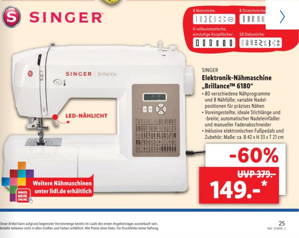 SINGER Elektronik-Nähmaschine Brillance 6180