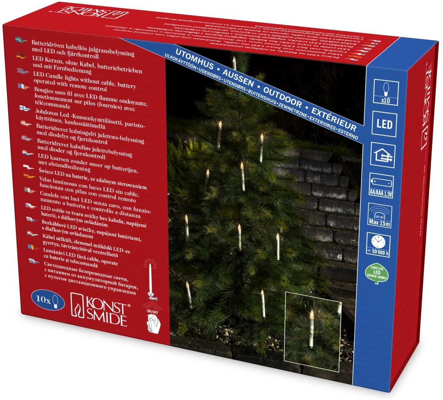 Konstsmide 1930-100 LED Baumbeleuchtung mit Fernbedienung für Außen (IP44) / Batteriebetrieben: 20xAA 1.5V (inkl.) / 10 warm weißen Dioden