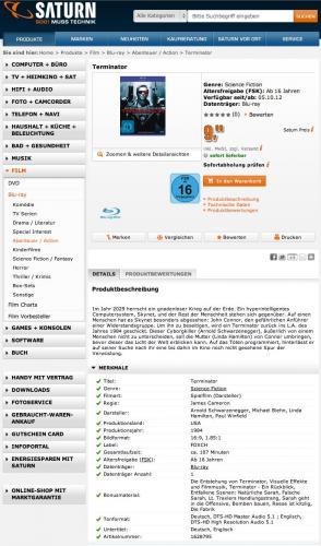 Terminator 1 Bluray 9,99€ bei Saturn in den Filialen bzw. 11,98€ incl. Versand nach Hause