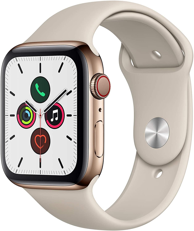 Apple Watch Series 5 (GPS + Cellular) 44mm Edelstahl gold mit Sportarmband stein für 545€