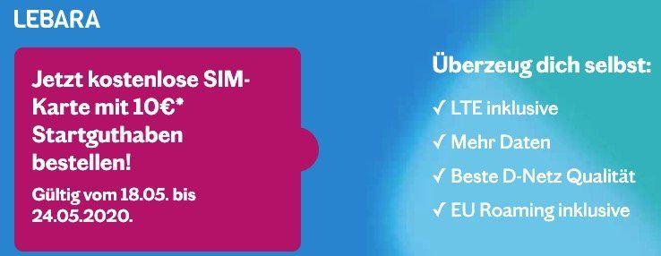 [Lebara] Gratis Simkarte im Telekom Netz mit 10€ Startguthaben