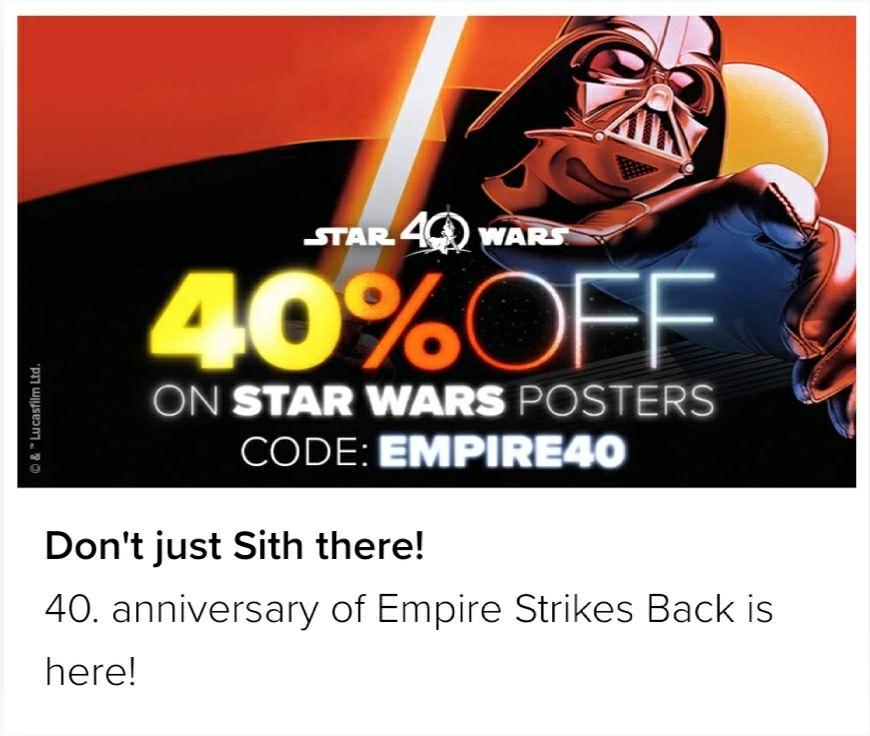 Displate Metall-Poster 40% Rabatt auf StarWars-Artikel