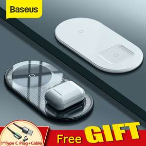 "2x Baseus Wireless ""Dual"" Charger (Apple 2x 7.5 Watt/ Huawei (Android) 10+5 Watt) & Fastcharge Support von Android/Apple"