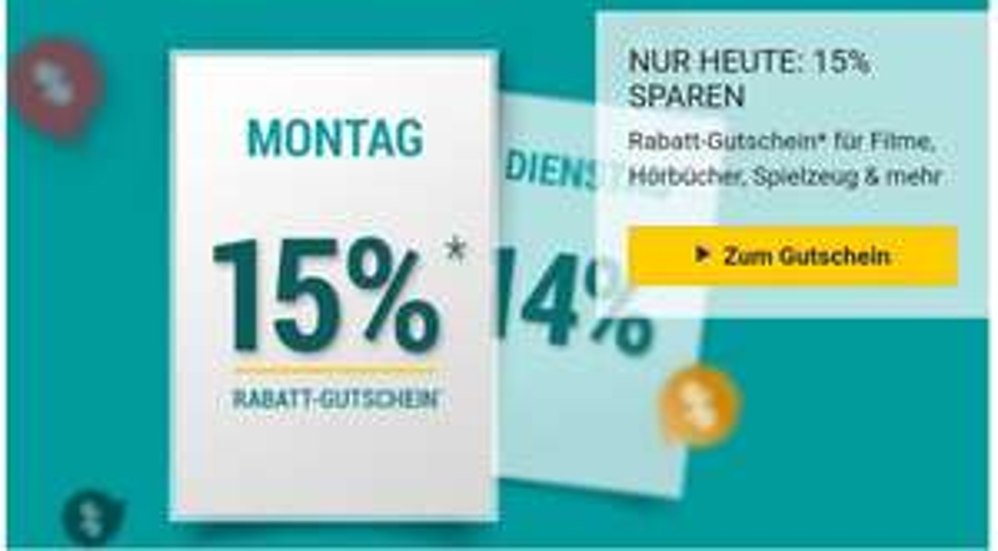 Bücher.de 15% auf Filme,Spiele,Hörbücher und mehr z.B.:Harry Potter Hörbuch Box