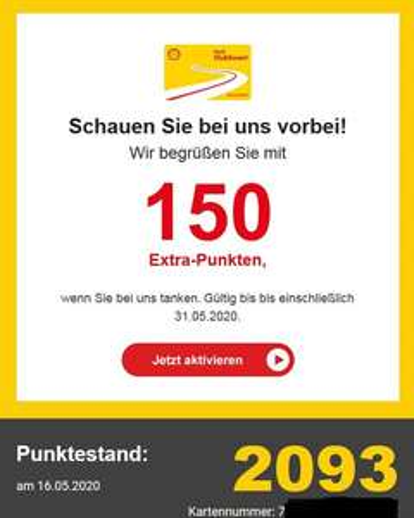 [Personalisiert?] Clubsmart Tanken 150 Extra-Punkte bei Shell