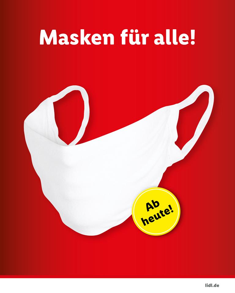 Waschbare Mund-Nasen-Masken bei Lidl für 1,49 €