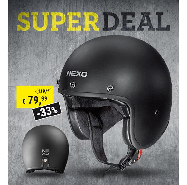 Polo Motorrad Superdeal Nexo Jethelm Fiberglas Urban 2.0 Mattschwarz