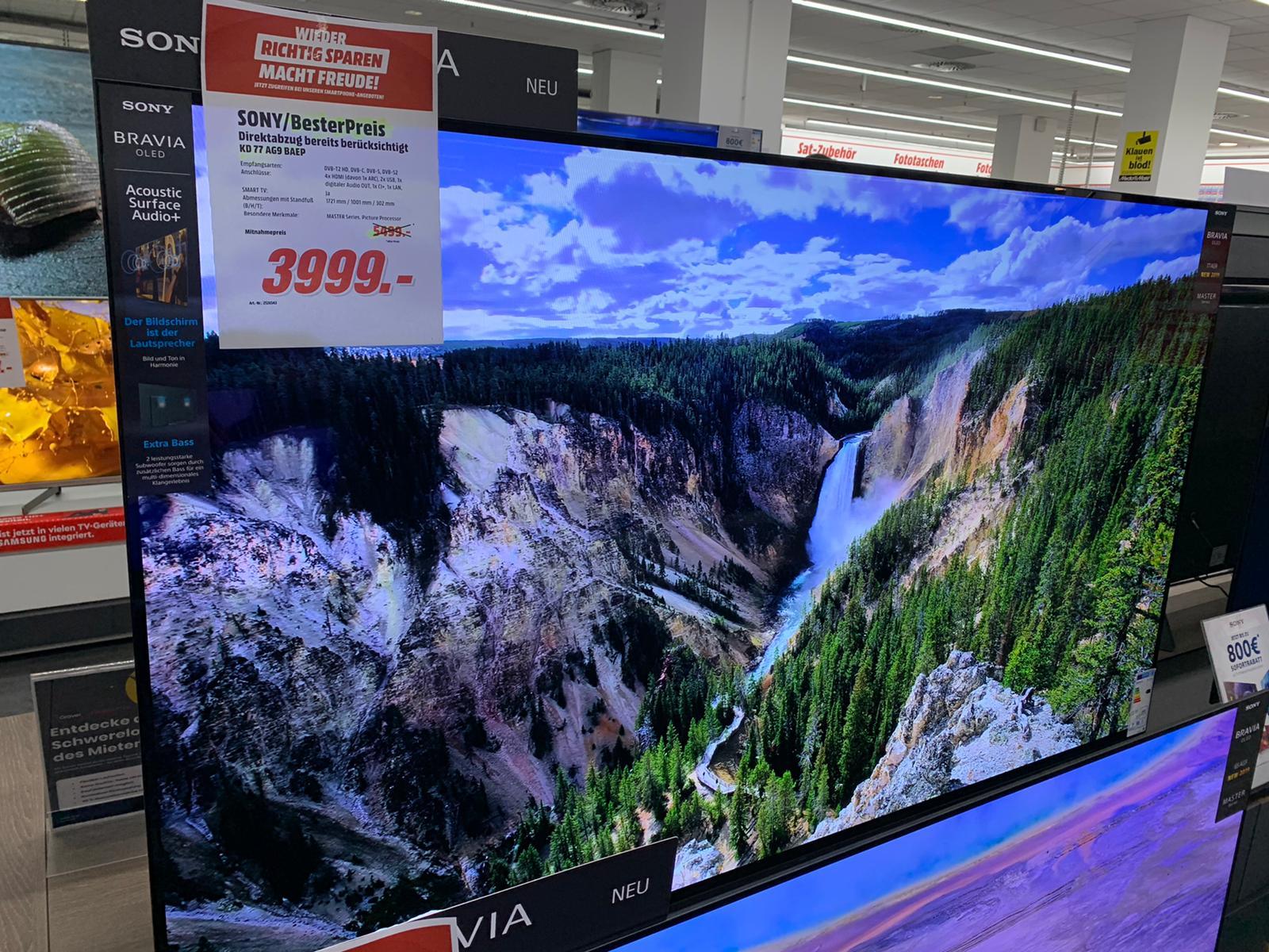 [Lokal] Media Markt Köln City am Dom: SONY KD-77AG9 OLED TV (Flat, 77 Zoll/195 cm, OLED 4K)