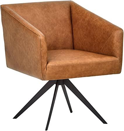 Amazon Marke - Rivet Vibe Bürodrehstuhl aus Leder, B 64 cm, mittelbraun