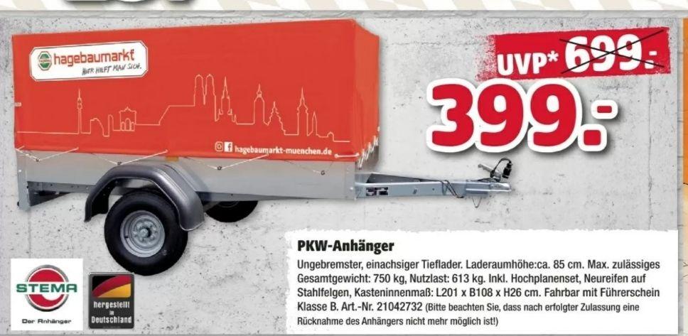 Hagebau [München] Stema PKW-Anhänger 750Kg inkl.Hochplanenset