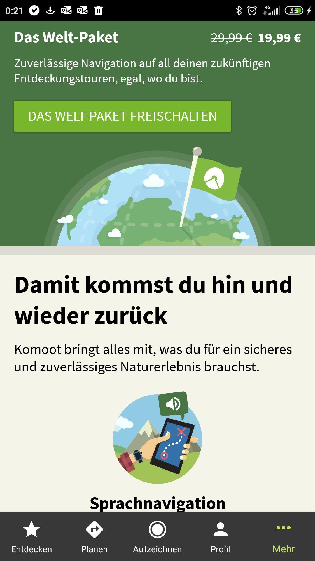 Komoot Welt-Paket 10€ günstiger