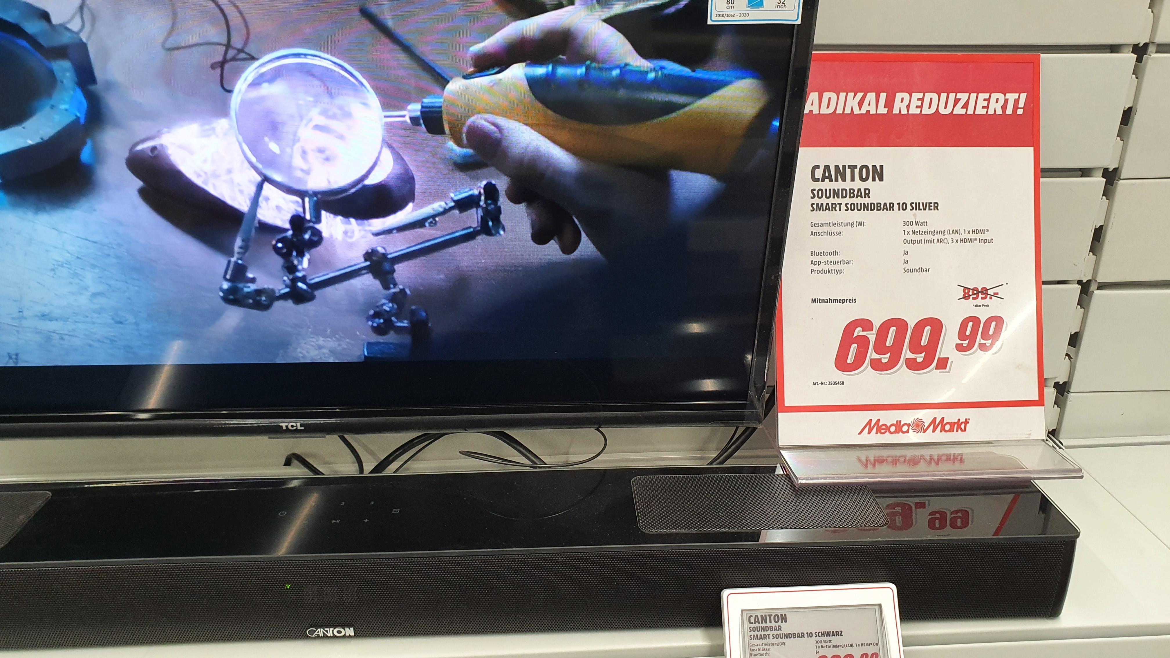 Canton Smart Soundbar 10 (Atmos) im Mediamarkt Düsseldorf Metrostraße für 699,99€ statt 899€