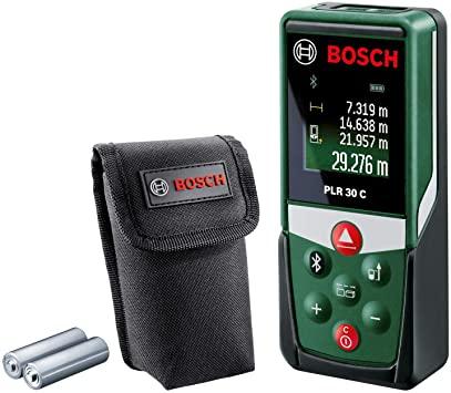[Amazon Prime] Bosch Laser Entfernungsmesser PLR 30 C (App Funktion, 3x AAA Batterien, Schutztasche, Messbereich: 0,05 - 30 m)