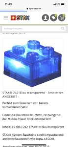 Light Stax 2x2 Baustein blau Transparent