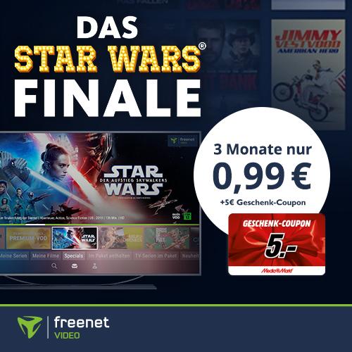 3 Monate Freenet Video mit eff. 4,01€ Gewinn durch 5€ Media Markt Gutschein: z.B. 1917, Parasite, Star Wars oder andere Filme schauen