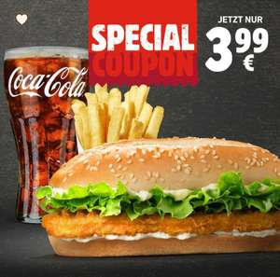 Long Chicken im Menü bei Burger King [App] mit mittlerer Pommes oder Salat & 0,4 L Getränk