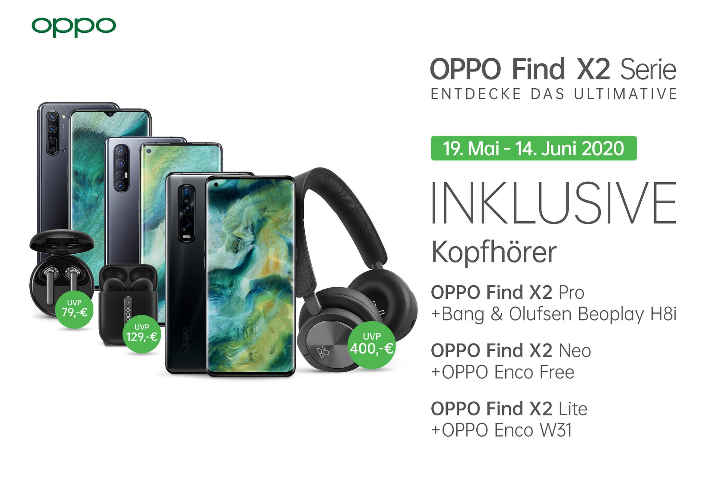 Oppo Find X2 Serie im WinSim (3GB LTE, Allnet/SMS): X2 Pro mit B&O H8i 805,75€ | X2 Neo mit Enco Free 565,75€ | X2 Lite mit Enco W31 445,75€