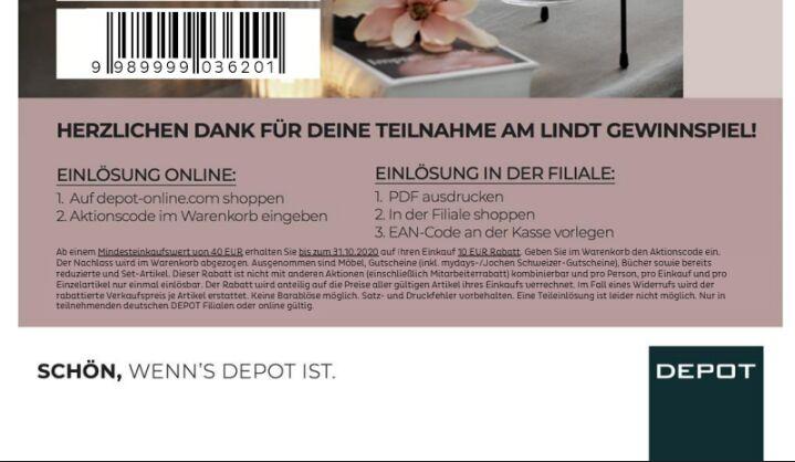 DEPOT Offline Gutschein. Unbegrenzt einzeln 10€ Abzug ab 40€ (Freebie möglich Lesen))