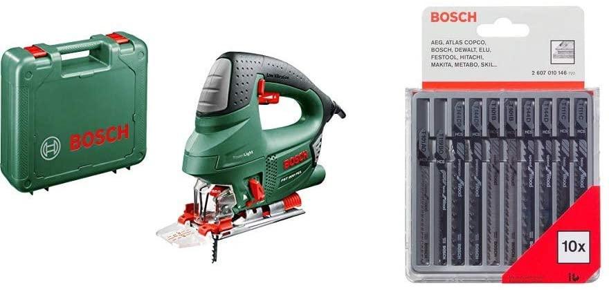 Bosch Stichsäge PST 900 PEL (620 Watt, Sägeblatt, Spanreißschutz, CutControl) inkl. Koffer + 10er Set Holz-Sägeblätter