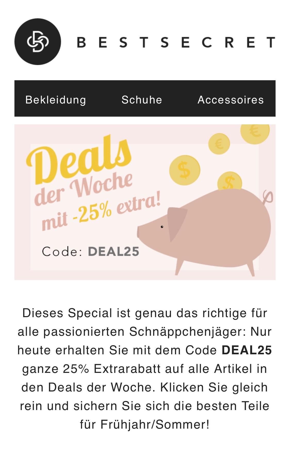 25% auf die Deals der Woche bei Bestsecret