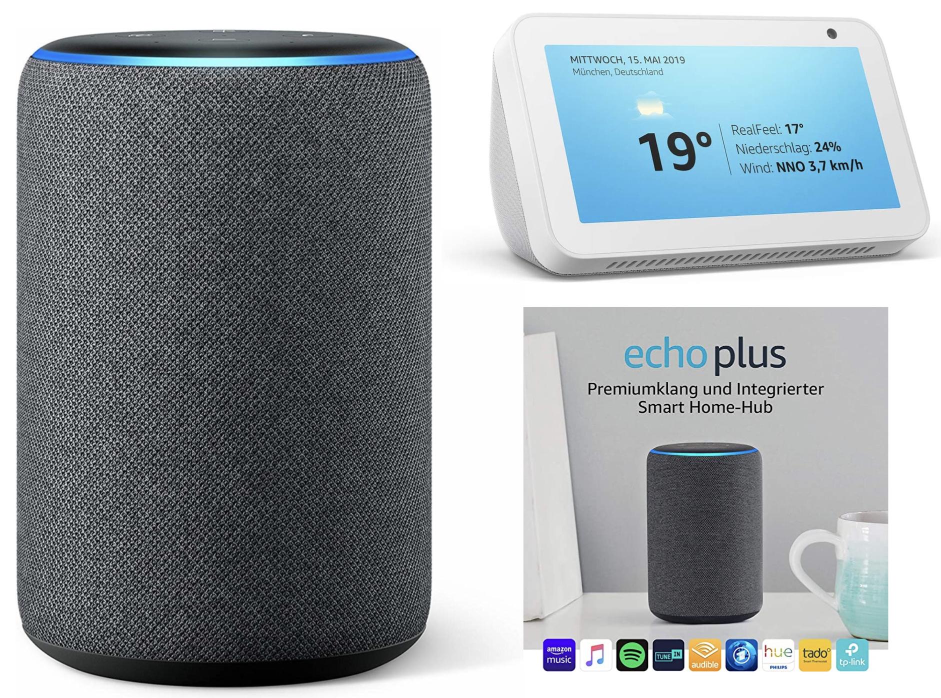 Amazon Echo 3. Generation für 70,98€, Echo Show 5 für 60,98€, Echo Plus für 90,98€