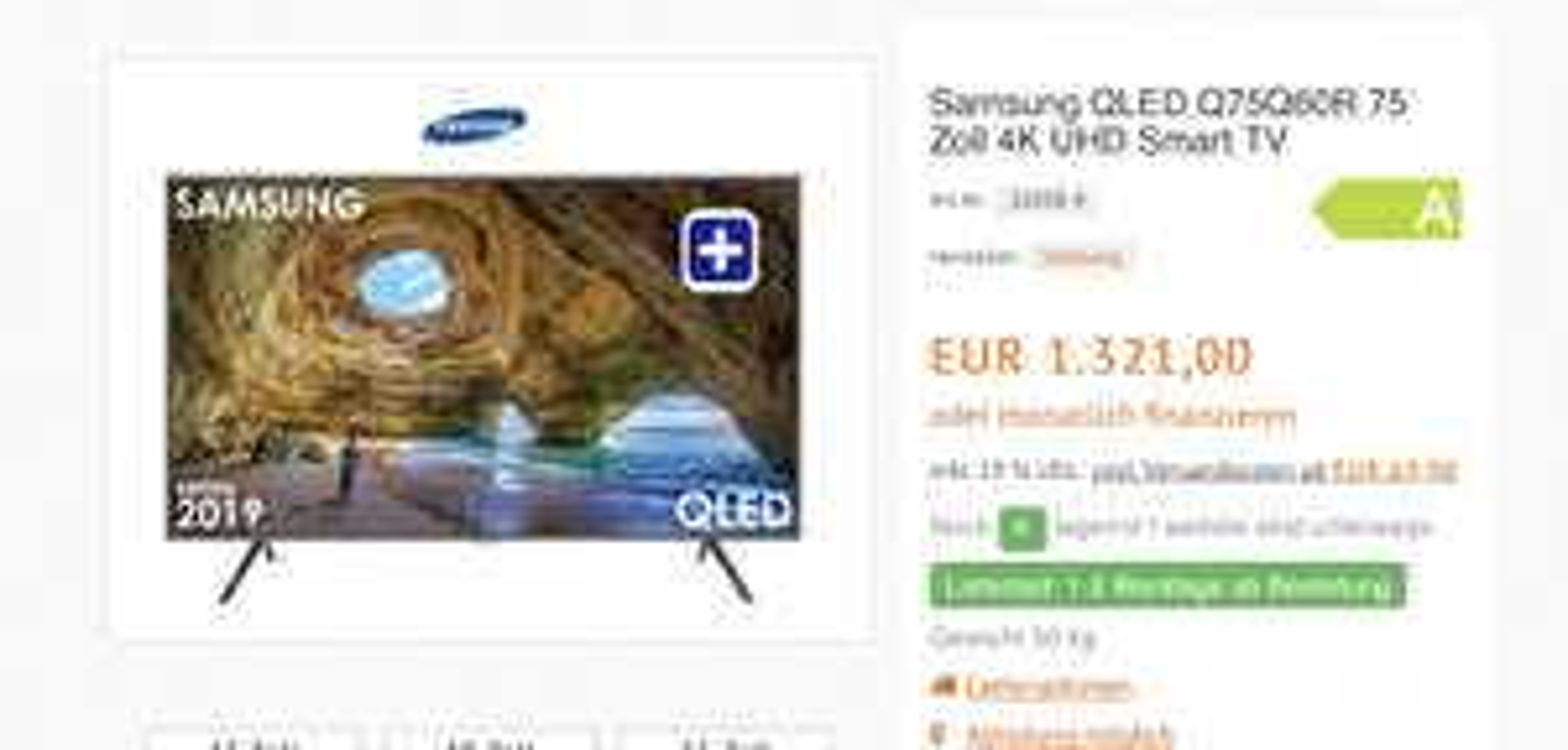 75 Zoll tv Q60r Samsung QLED