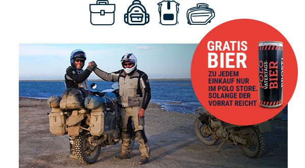 Polo Motorrad : 15% Rabatt auf Gepäck und Gratis Bier im Store zum Einkauf