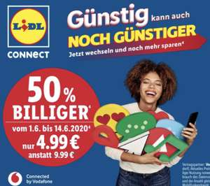 Lidl: 50% Rabatt auf Lidl Connect Starterpakete inkl. 10€ Startguthaben - ab 01.06.