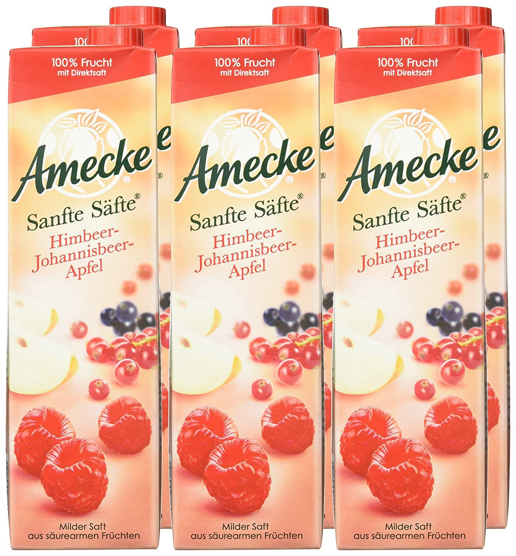 [Amazon Prime] Amecke Sanfte Säfte Himbeer Johannisbeer Apfel - 100 Prozent Saft 6x1l