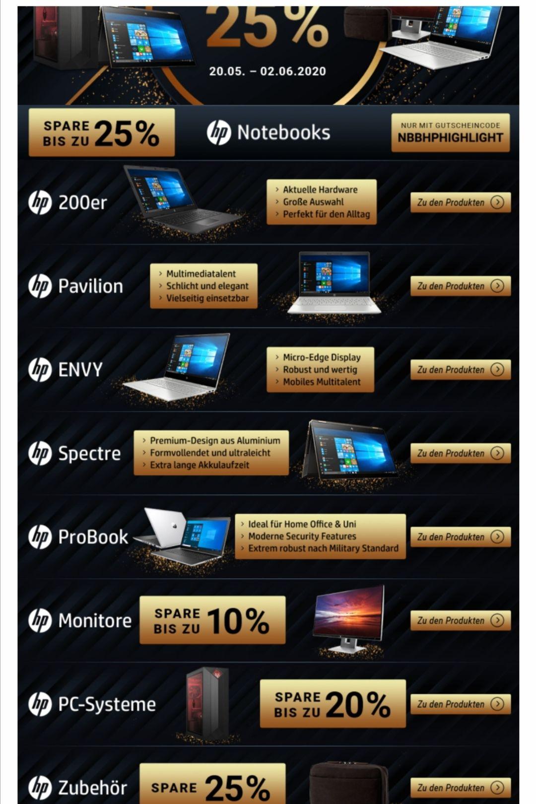 Hp Notebooks und Desktop bis zu 25% reduziert.