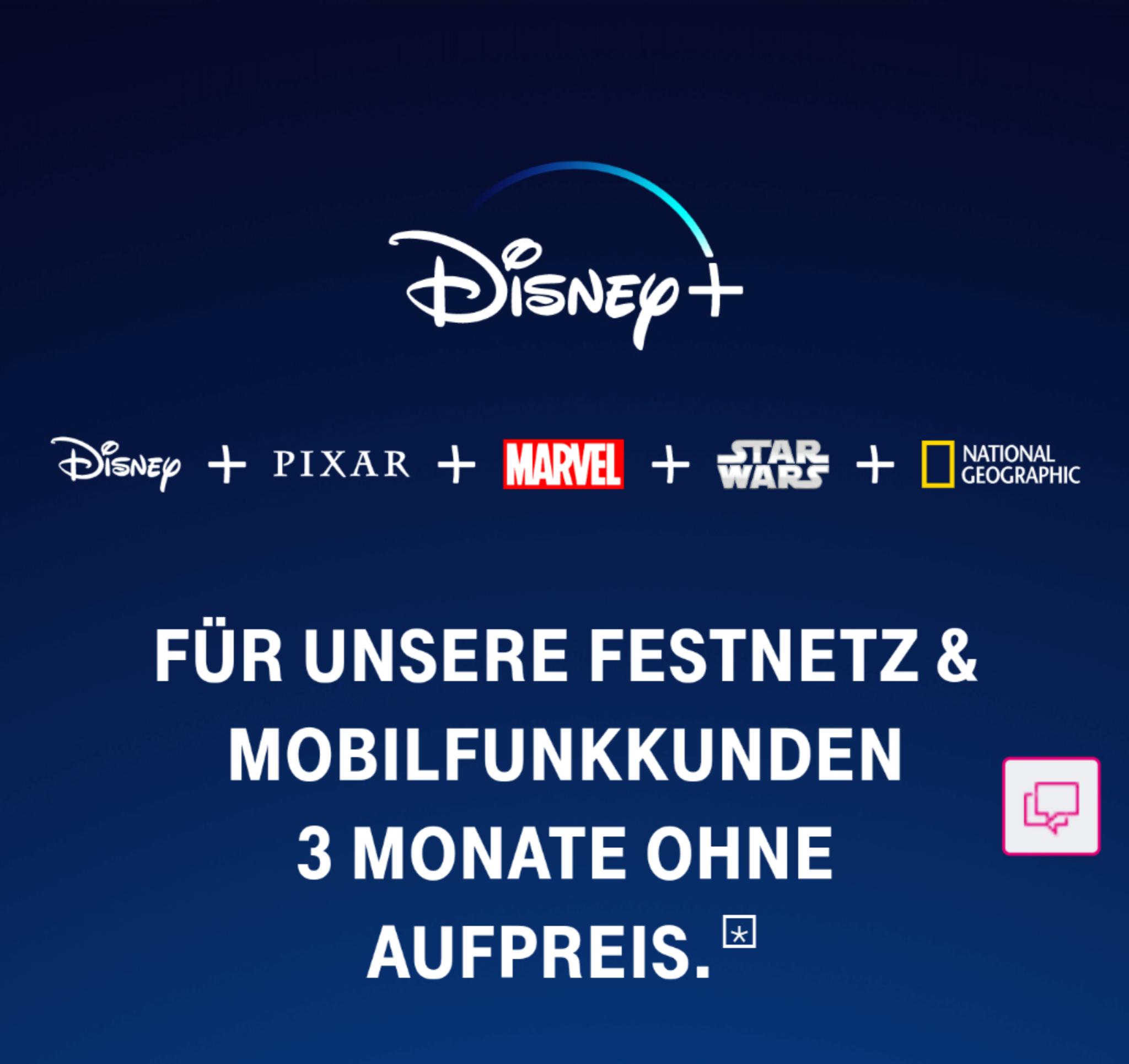 [Telekom Kunden] 3 Monate gratis Disney+, danach 5€ statt 6,99€ pro Monat (monatlich kündbar) - Jetzt auch wieder in 4K