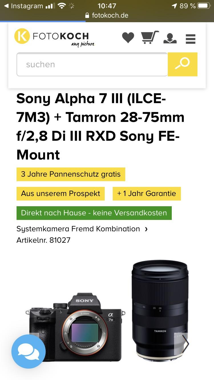 Sony Alpha 7 MK III mit Tamron 28-75 f2.8 + 3J Pannenschutz