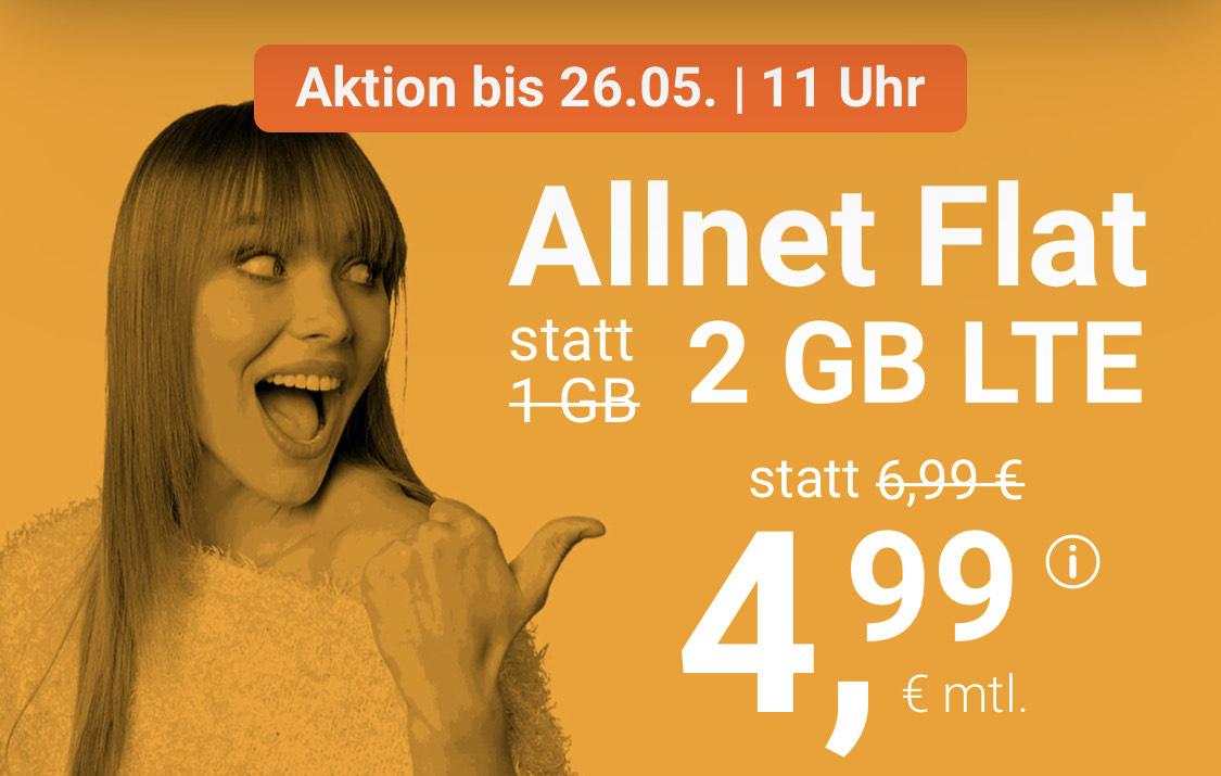 WinSim 2GB für 4,99€ mtl. - ohne Vertragslaufzeit - Telefonica Netz