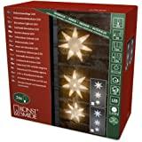 Konstsmide 6116-103 LED Lichtervorhang mit 3 Acrylschneeflocken / für Innen (IP20)