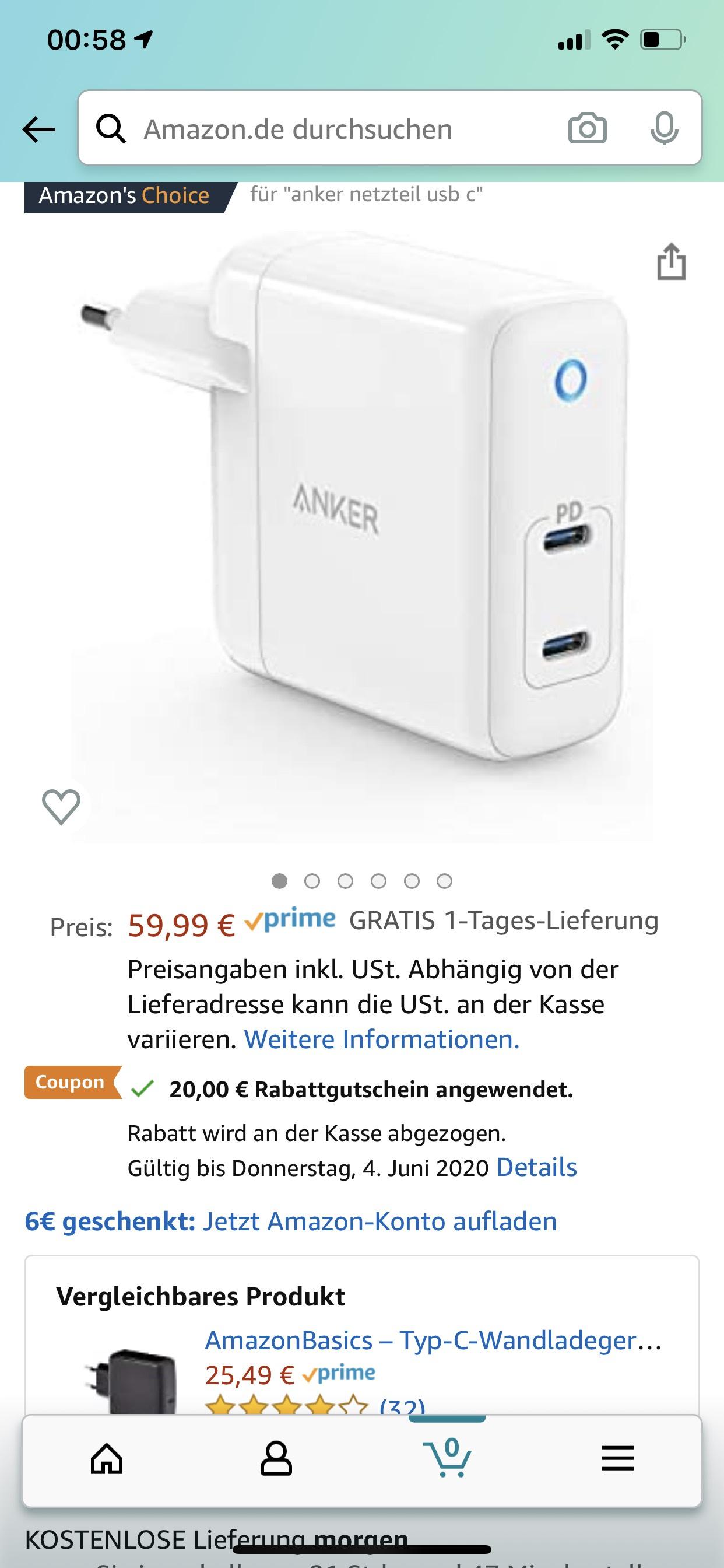 [Amazon Prime] Anker PowerPort Atom PD 2, 60W 2-Port USB-C Ladegerät mit Power Delivery für MacBook Pro