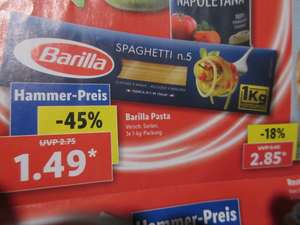 Real & Lidl - Barilla Pasta / Nudeln 1kg Packung 1,49 Euro ~ 500gr - 0,74 Euro