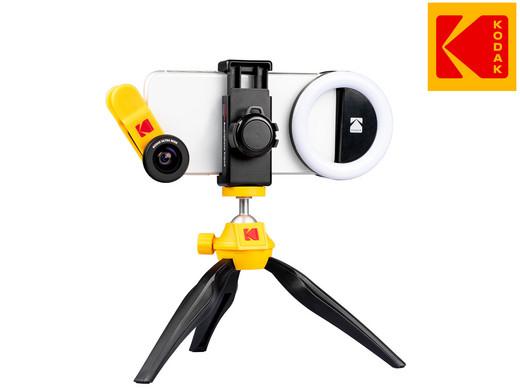 KODAK Smartphone Fotografie Kit: 100° Weitwinkel- und 15x Makro-Objektiv, Dreibeinstativ, Ringlicht, Schutztasche