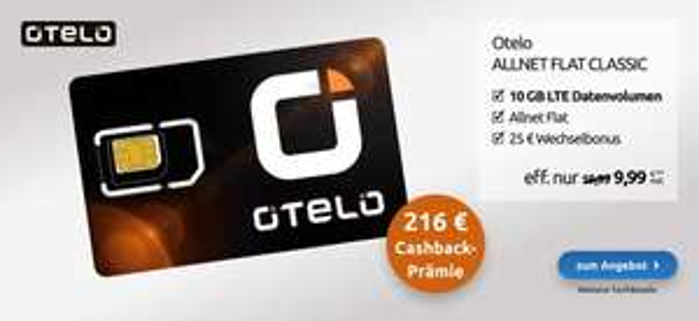 Vodafone-Netz: Otelo Allnet 10GB LTE für eff. 10,99€/Monat (dank 216€ Cashback)
