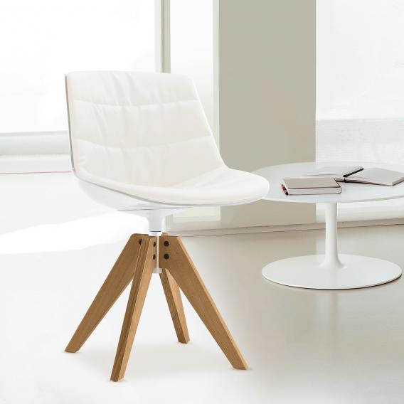 MDF Italia - Flow Chair gepolstert, weiß/weiß mit Bezug Londra [Reuter.de]