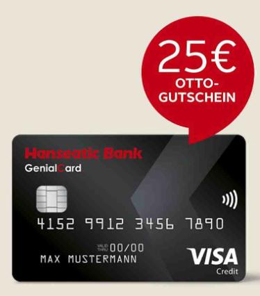 Kostenlose Hanseatic Bank Visa Card beantragen und 25 € Otto Gutschein sichern (nur für Otto Kunden)