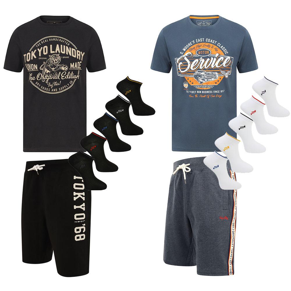 Kopf bis Fuß Outfit von Tokyo Laundry (T-Shirt + Shorts + 5 Paar Socken)