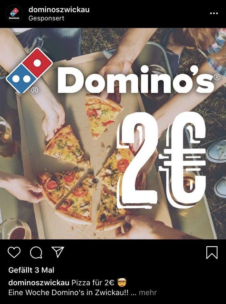 Lokal Dominos Zwickau, Pizza in der Größe M für 2€ bei Abholung