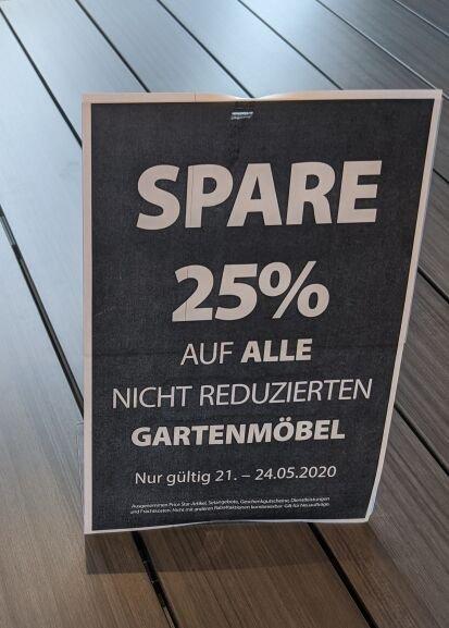 [Dänisches Bettenlager] 25% auf nicht reduzierte Gartenmöbel; auch Differenzgutschein für zurückliegende Käufe möglich!
