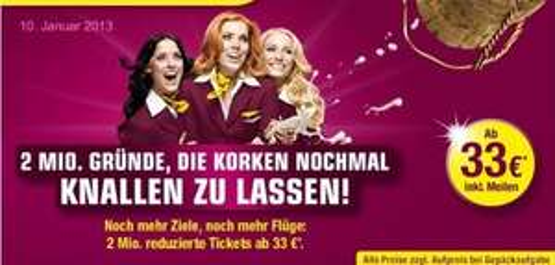 German Wings - 2 Million preiswerte Tickets  ab 33€ (auch Sommerferien)